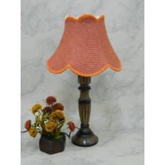 Tucasa Unique Wooden Table Lamp with Red Jute Shade, LG-826
