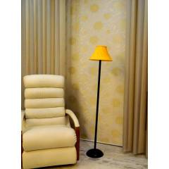 Tucasa Black Metal Floor Lamp with Yellow Pleated Shade, LG-902