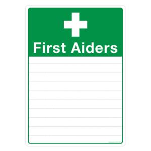 Safety Sign Store First Aider's List Sign Board, FE610-A4NGR-01