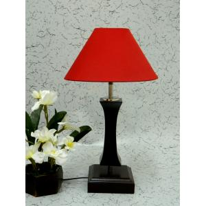 Tucasa Flamingo Wooden Table Lamp with Red Shade, LG-1110