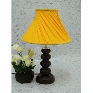 Tucasa Smart Wooden Table Lamp with Yellow Pleated Shade, LG-1090