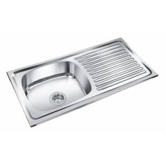 Deepali Single Bowl Kitchen Sink With Drain, DR 203A, Overall Size: 37x18 Inch