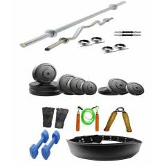 Arnav Combo of 20kg Plates & 8 Accessories Home Gym, OSB-700506