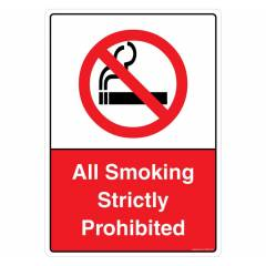 Safety Sign Store All Smoking Strictly Prohibited Sign Board, PB208-A4AL-01