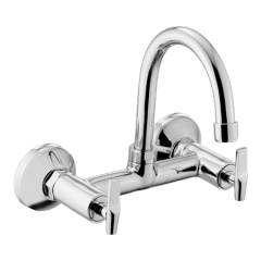 Eauset Elbe Quarter Turn Sink Mixer with swinging spout (small) wall mounted with Wall Flange, FEL068