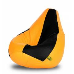 Dolphin DOLBXL-09 Black & Yellow Bean Bag Cover without Beans, Size: XL