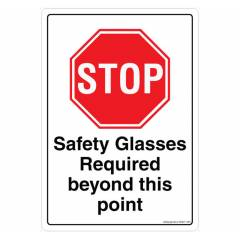 Safety Sign Store Stop: Safety Glasses Required beyond this Point Sign Board, SS841-A5AL-01
