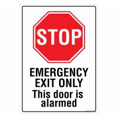 Safety Sign Store Stop: Emergency Exit only Sign Board, PS105-A4V-01