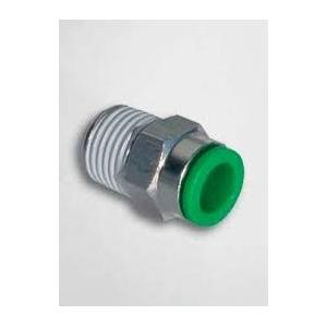 Pneumax Straight Connector with Male Thread PPCG8-02G, Thread Size: 1/4 Inch