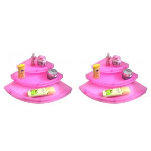 Drizzle Plastic Corner Shelves Pink Unbreakable (Pack of 6)