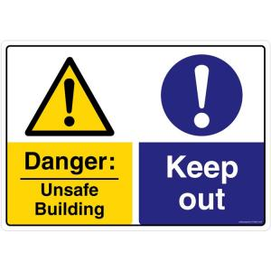 Safety Sign Store Danger: Unsafe Building, Keep Out Sign Board, FS652-A3PC-01