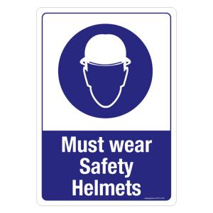 Safety Sign Store Must Wear Safety Helmets Sign Board, SS215-A3AL-01