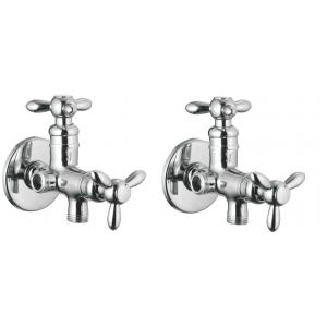 Apree Tristar Silver Brass 2 in 1 Angle Faucet (Pack of 2)