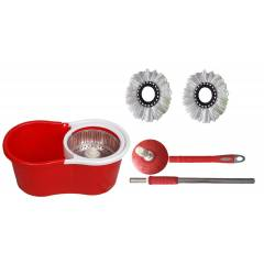 GTC Red 360 Degree Spin Mop Rotating Pole & Bucket with 2 Microfiber Heads