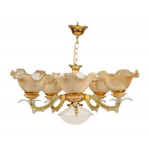 Glow Fixtures Golden & White Glass Chandelier, JF517I02-SPL