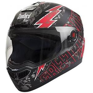 Steelbird SBA-1 Matt Black Red Full Face Helmet, Size (Medium, 580 mm)