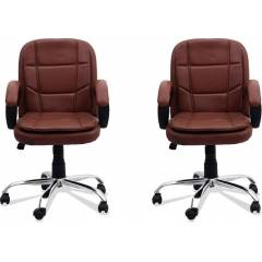 Mezonite Brown Medium Back Leatherette Office Chair (Pack of 2)