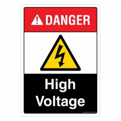 Safety Sign Store Danger: High Voltage Sign Board, SS323-A4AL-01