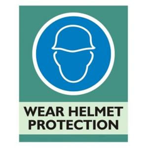 Zatpat Printing M0013 Wear Helmet Protection Sign Board, Size: 200x165 mm