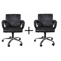 High Living Black Leatherette Medium Back Office Chair, HL_07 (Pack of 2)