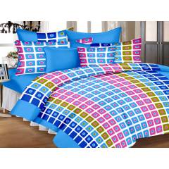 IWS Blue Luxury Cotton Printed Double Bedsheet with 2 Pillow Covers, CB1657