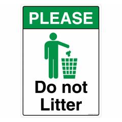 Safety Sign Store Do Not Litter Sign Board, PS812-A4V-01