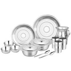 Airan 51 Pieces Stainless Steel Silver Blossom Dinner Set