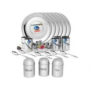 Airan 24 Pieces Stainless Steel Dinner Set with Free Tea, Sugar & Coffee Container