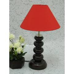 Tucasa Smart Wooden Table Lamp with Red Shade, LG-1077