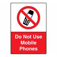 Safety Sign Store Do Not Use Mobile Phones Sign Board, PB116-A3PC-01