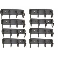 SmartShophar 8 Inch Black Steel Coated 4 Legs Robert Wall Hook (Pack of 8), 54618-SHKR-BL08-P8