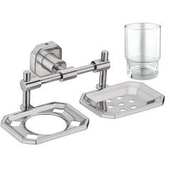 Jovial 108 Classy Stainless Steel Glossy Finish Soap Dish Holder with Toothbrush Holder