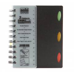 Solo 3 Subjects Note Book , NA633, Size: A6, Colour: Black (Pack of 10)