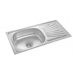 Neelkanth NK-SBSD7L Linen Single Bowl Single Drain Board Stainless Steel Sink