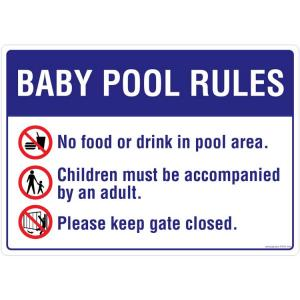 Safety Sign Store Baby Pool Rules Sign Board, PS707-A3PC-01