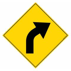 Safety Sign Store Caution: Road bend - Right Sign Board, TR228-900REF-01