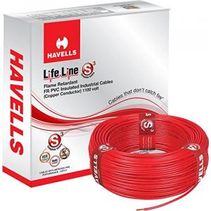 Havells 1 Sq. mm Single Core Life Line Plus S3 Red HRFR PVC Flexible Cables, WHFFDNRA11X0, Length: 90 m