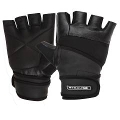 Strauss Black Leather Gym Gloves with Wrist Wrap, Size: M