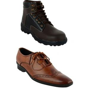 Da-Dhichi Combo of RA-06 Safety Boots & Formal Shoes, Size: 9