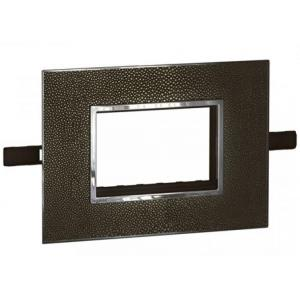 Legrand Arteor 4 Module Leather Galuchat Square Cover Plate With Frame, 5763 54