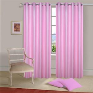 IWS Light Pink Designer Collection Polyester Eyelet Door Curtain Set, CT1064