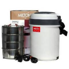 Milton Electron 4 Container Cream & Brown Tiffin Box, M1000-MET-04-CB