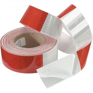 KT 2 Inch Red and White Reflective Tape, Length: 50 m