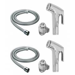 Home Decor 1.5m Single Flow Hand Showers with SS Flexible Hose & Hook Shower Head, HDHAND41 (Pack of 2)