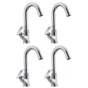 Snowbell  Soft Brass Chrome Plated Swan Neck Pillar Faucets (Pack of 4)