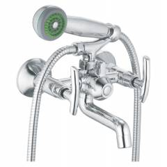 Apree Oasis Silver Brass Wall Mixer Telephonic With Crutch