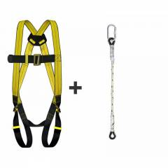 Allen Cooper Yellow Full Body Polypropylene Harness with Twisted Rope Lanyard, 1011029_FBH10_TRL202