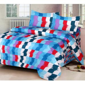 IWS Blue Luxury Cotton Printed Double Bedsheet with 2 Pillow Covers, CB1612