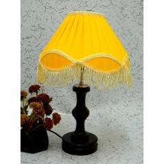 Tucasa Fabulous Wooden Table Lamp with Yellow Lac Shade, LG-1036