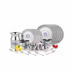 Airan 37 Pieces Stainless Steel Silver Dinner Set